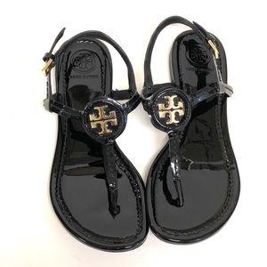 Tory Burch Flat Leather Thong Sandals Black